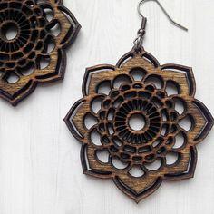 ONE PAIR of Wooden Floral design Laser Cut Shape Stud Earrings