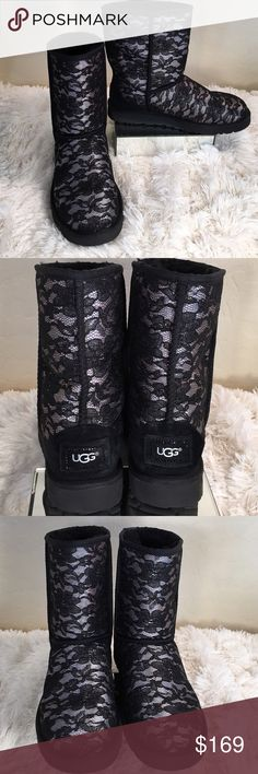 UGG BRAND NEW Stunning Black Lace Short Boots UGG Gorgeous Black Lace Classic Short Boots with comfortable Black Shearling lining.  Crystal detail outlines the UGG trademark label on the back of the boot! Always authentic... no trades please!  UGG Shoes Winter & Rain Boots