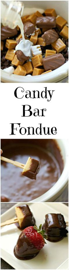Bar Fondue Candy Bar Fondue {Slow Cooker} Fun way to entertain!Candy Bar Fondue {Slow Cooker} Fun way to entertain! Sweet Desserts, Just Desserts, Delicious Desserts, Yummy Food, Slow Cooker Desserts, Slow Cooker Recipes, Cooking Recipes, Beef Recipes, Dessert Dips