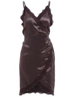 Spaghetti Strap Lace Trim Wrap Dress in Coffee | Sammydress.com