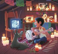 Miguel Rivera in his attic with his dog, Dante with Ernesto de la Cruz music collection from Coco Disney Pixar, Coco Disney, Disney Amor, Disney Fan Art, Disney And Dreamworks, Disney Animation, Animation Film, Disney Love, Disney Magic