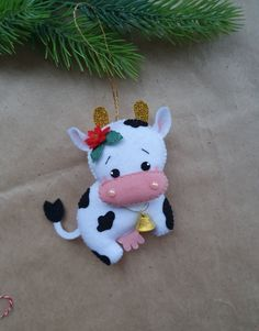 Cow Ornaments, Funny Ornaments, Crochet Ornaments, Crochet Snowflakes, Cowboy Christmas, Christmas Angels, Christmas Christmas, Dishcloth Knitting Patterns, Knit Dishcloth