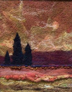 No.385 Warm Field Too  Needlefelt Art Large by Deebs on Etsy