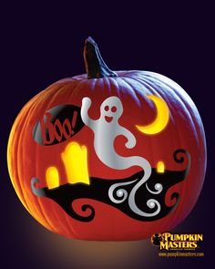 """""""Ghost"""" pattern from the Pumpkin Masters Paint & Carve Kit."""