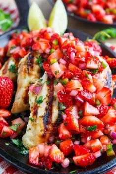 Cilantro Lime Grilled Chicken with Strawberry Salsa #grilled #chicken #recipe