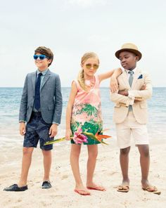 J.Crew boy's chambray Ludlow jacket and girl's palm tree print dress. To preorder call 800 261 7422 or email erica@jcrew.com.