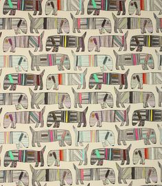 Frankie Neon Fabric / Multi | Just Fabrics Lovely quirky print fabric with these little pooches looking very colourful