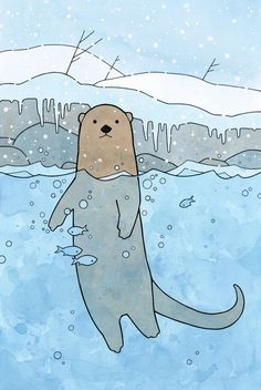 River Otter Art Print, Nursery, Kids Room Animal Large Illustration Print - studio tuesday