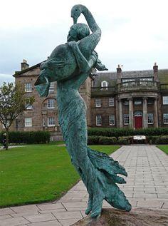 Girl with Swan sculpture by David Annand - Dunbar, Scotland Copyright: Alastair Seagroatt