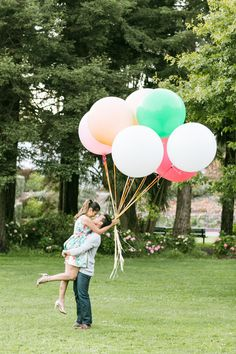 We love this whimiscal engagement shoot, adorable balloons included! #engagementshoot #engagement #wedding