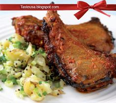deviled lamb cutlets with crushed potato and mustard seed salad