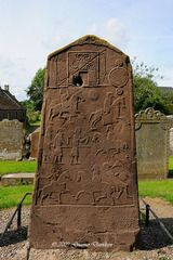 Pictish stone outside church, Aberlemno, Angus, Scotland