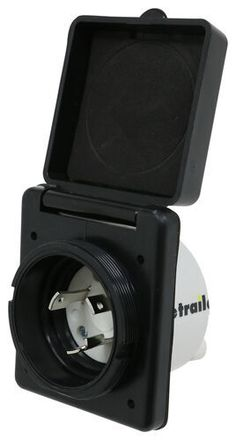 Plug your 30-amp twist-lock RV power cord into this durable polyester inlet. Dust cover protects inlet from water and debris. Threaded ring creates we Enclosed Trailer Camper, Golf Cart Batteries, Lead Acid Battery, Plugs, Rv, Cover, Wheels, Black, Motorhome