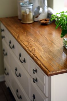 Upcycled Dresser Turned Kitchen Cabinet • Free tutorial with pictures on how to make a drawer / dresser in 9 steps