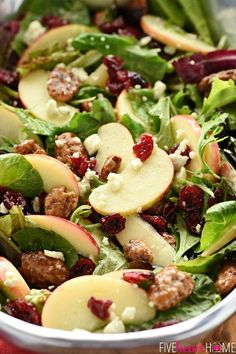 Apple Cranberry Holiday Salad. #salad #saladrecipes #summersalad #healthyrecipes #summerrecipes #healthyeating #healthyfood #fitnesstips