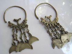 Vintage tribal Earrings  Silver Hoop Earrings Tunisian by Anteeka, $150.00