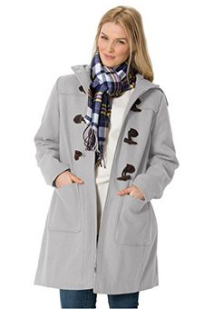 New Trending Outerwear: Womens Plus Size Classic Wool-Blend Duffle Coat Heather Grey,18 W. Women's Plus Size Classic Wool-Blend Duffle Coat Heather Grey,18 W   Special Offer: $179.56      411 Reviews Our plus size duffle coat is utterly classic. It comes complete with all the details and features of the famed original: the hooded collar, wool-blend construction, toggle...