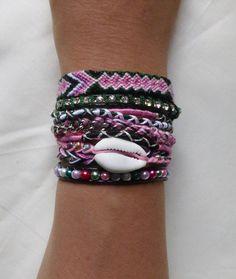 Bracelet manchette de l'amitié vert rose fermoir aimanté : Bracelet par kiline