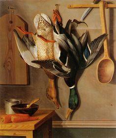 """""""Riippuvia Heinäsorsia"""" (1851) by Wilhelm von Wright - Wilhelmiä on pidetty taiteilijaveljessarjan teknisesti etevimpänä kykynä sekä piirtäjänä että maalarina.Hänen merkittävin kuvitustyönsä on 60 väritaulua sisältävä Skandinaviens FISKAR. Samantap.kuvasarjoja hänellä on enemmänkin.Hän toimi myös Ruotsin Taideakat.julkaisujen ja aikakauskirja TIDSKRIFT FÖR JAGARE OCH NATUR FORSKAREN kuvittajana."""