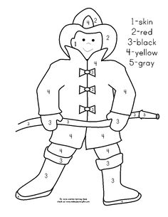 fireman coloring pages preschool alphabet | Fireman color by number | Fire Safety Unit | Preschool ...