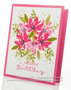 This is a great basic, single layer card! Avant Garden and Cottage Greetings stamp sets; Melon Mambo and Old Olive inkpads