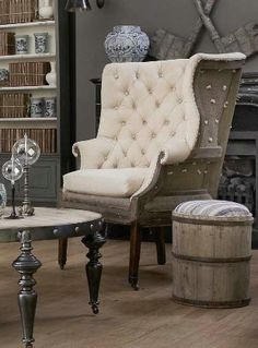 Deconstructed FIRESIDE WING CHAIR IN SHADED WALNUT FINISH DECONSTRUCTED UPHOLSTERY IN ANTWERP OATMEAL