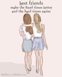 Best Friends - Sister Wall Art - Sisters Digital Art Print - Sisters -  Tween Sister Friend Wall Art -- Print