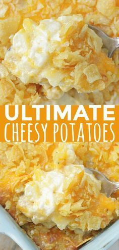 These Cheesy Potatoes are the best and most comforting side dish to have on your Thanksgiving table. #Thanksgiving #Side dish Cheesy Potatoes With Hashbrowns, Cheesy Hashbrown Casserole, Potatoe Casserole Recipes, Potato Recipes, New Recipes, Cooking Recipes, Favorite Recipes, Cheesey Potatoes Crockpot, Easy Cheesy Potatoes