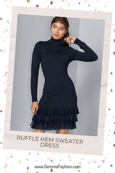 💥 RUFFLE HEM SWEATER DRESS It's all about a stunning silhouette in this sweater dress. The turtleneck top is simply chic, which is juxtaposed with the lacy layered ruffle accent at the hem. From the dinner table to the dance floor, this is the dress that will get your body moving. #Fashion #casualstyle #outfit #womenswear #womensclothing #clothing #clothes #shoppingonline #chic #apparel #shopping #sweater #fallfashion #sweaterweather #streetstyle #sweaterdress Turtleneck Top, Lovely Dresses, Dinner Table, Sweater Weather, Autumn Fashion, Women Wear, Turtle Neck, Floor, Street Style