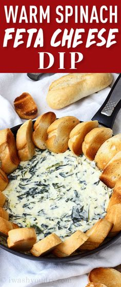 Warm Spinach Feta Cheese Dip is a quick and easy appetizer that's perfect for larger crowds!