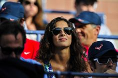 Xisca Perello, girlfriend of Rafael Nadal, looks on as Nadal plays against Novak Djokovic in their men's final match on Day 15 of the 2013 US Open. - Andrew Ong/usopen.org