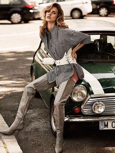 Gray thigh boots, shirt-dress and white corset belt.