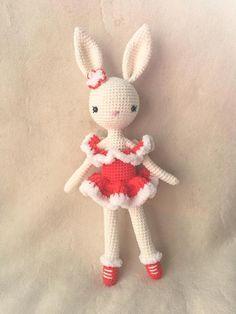 Items similar to Ice Skater /Ballerina Bunny Charlotte III in Red Dress - Easter Bunny - Chrochet doll - Amigurumi Toy on Etsy Crochet Rabbit, Cute Crochet, Crochet Dolls, Crochet Baby, Amigurumi Patterns, Amigurumi Doll, Crochet Patterns, Knitting Projects, Crochet Projects