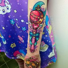 Sailor Moon wand tattoo by Laura Anunnaki. Girly Tattoos, Badass Tattoos, Anime Tattoos, Body Art Tattoos, Sleeve Tattoos, Tatoos, Awesome Tattoos, Moon Tattoos, Segundo Round