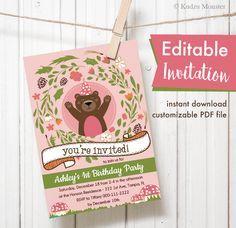 Woodland bear theme pink Editable Printable Birthday Party Invitation girly baby shower floral mushrooms Instant Download by KudzuMonster on Etsy https://www.etsy.com/listing/285561109/woodland-bear-theme-pink-editable