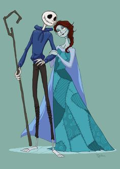 Jack and Sally had fun with this crossover between Nightmare Before Christmas, Frozen and Rise of The Guardians. It's Jack for a Jack and Sally for an Elsa.