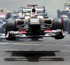 af9865470d F1 Monaco Grand Prix 2012 Sauber C31 gets airborne at the start of the race.