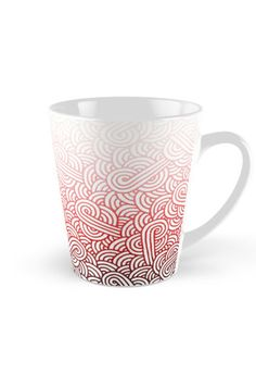 """""""Gradient red and white swirls doodles"""" Tall Mug by @savousepate on @redbubble #pattern #abstract #modern #graphic #geometric #red #pink #blush #crimson #carmine #burgundy #maroon #ombre #gradient #mug"""