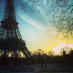 Sunrise over the Eiffel tower Paris