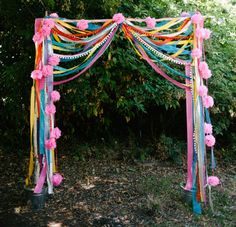 Use ribbons to decorate your outdoor space as a luxurious alternative to paper streamers and bunting