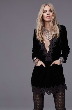 Free People 'Dreams' Lace Trim Tunic Dress | Nordstrom