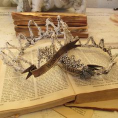 French ornate wire crowns handmade sisal embellished Santos decor for statues and home decorations anita spero by anitasperodesign. Explore more products on http://anitasperodesign.etsy.com
