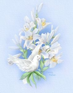 Lillies By Artist Penny Parker Decoupage, Dove Drawing, Dove Images, Penny Parker, Religious Images, Bird Pictures, Cute Illustration, Vintage Cards, Vintage Flowers