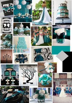 Teal Black and White wedding...just love the teal yekootookey