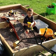 Dual sandbox/gravel pit! Highly recommend for anyone with a dirt loving boy!!