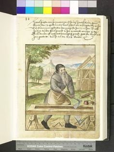 1570 Carpenter building a house, with axe, adze, drill, saw horses ...