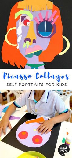These colorful Picasso collages help kids explore identity as they create self portraits by cutting and assembling paper. For Kids Pablo Picasso Collages Inspire Kids to Explore Identity With Self-Portraits Pablo Picasso, Kunst Picasso, Picasso Collage, Picasso Art, Collage Art, Picasso Portraits, Kids Collage, Picasso Kids, Picasso Style