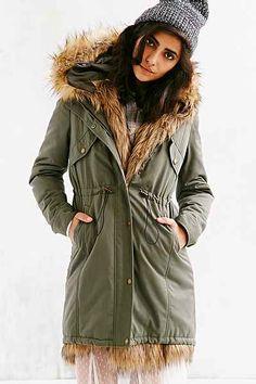 faux fur trim winter coat