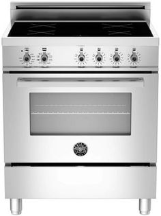 $3299 Bertazzoni PRO304INMXE 30 Inch Freestanding Electric Range with 4 Induction Burners, European Convection Cooking, Glass Door, Stainless Steel Backguard, Storage Drawer and Flush Installation: Stainless Steel, Manual Clean, Standard Oven Racks