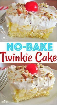 No-Bake Twinkie Cake recipe from The Country Cook (country cooking recipes sugar) Twinkie Cake Recipes, Pie Recipes, Baking Recipes, Dessert Recipes, Twinkie Desserts, Baking Ideas, Twinkie Filling Recipe, No Cook Recipes, Dump Cake Recipes